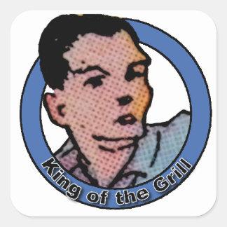 Rey del dibujo animado del vintage de la parrilla pegatina cuadrada