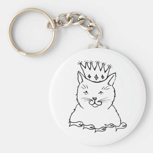 Rey del gato - diseño felino del dibujo del arte d llavero personalizado