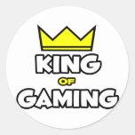 Rey del juego pegatinas redondas