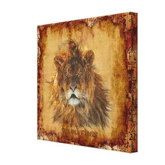 Rey del león de la lona de arte egipcia del Grunge Impresión En Tela