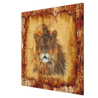 Rey del león de la lona de arte egipcia del Grunge Impresiones En Lona Estiradas