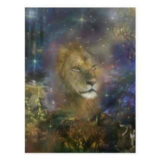 Rey del león de las bestias de la selva tarjetas postales