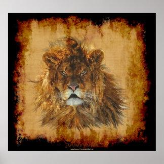Rey del león del poster del arte de la fauna de la
