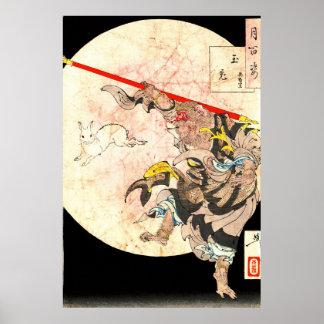 Rey del mono y conejo 1887 de la luna póster