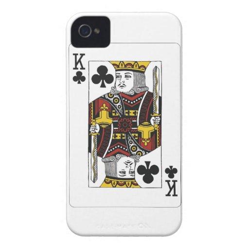 rey del naipe de los clubs iPhone 4 carcasas