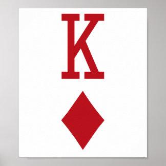 Rey del naipe del rojo de los diamantes póster