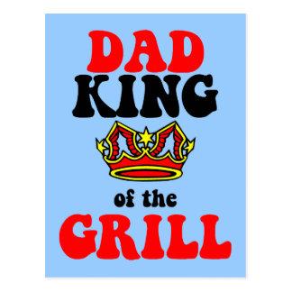 rey del papá del día de padres de la parrilla tarjeta postal