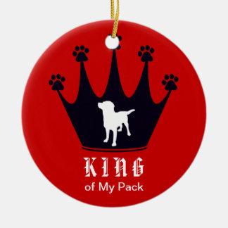 Rey del paquete adorno navideño redondo de cerámica
