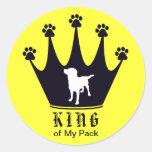 Rey del paquete pegatina redonda