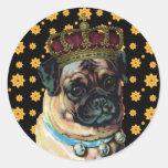Rey del perrito pegatina redonda