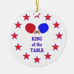Rey del ping-pong de la tabla ornamento de navidad