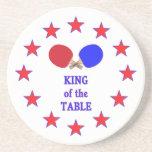 Rey del ping-pong de la tabla posavasos personalizados