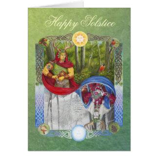 Rey del roble y rey del acebo tarjeta de felicitación