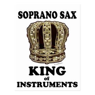 Rey del saxofón del soprano de instrumentos tarjeta postal