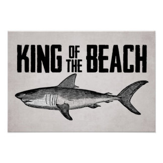 Rey del tiburón del vintage del poster de la playa