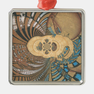 rey egipcio en pyprus.png adorno navideño cuadrado de metal