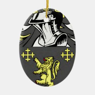 Rey escudo de armas adorno navideño ovalado de cerámica