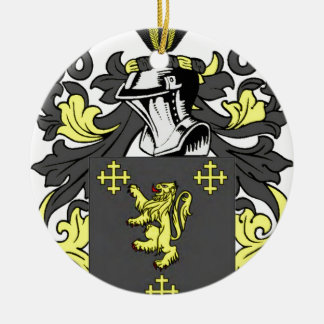 Rey escudo de armas adorno navideño redondo de cerámica