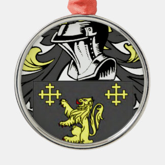 Rey escudo de armas adorno navideño redondo de metal