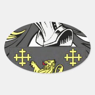 Rey escudo de armas pegatina ovalada
