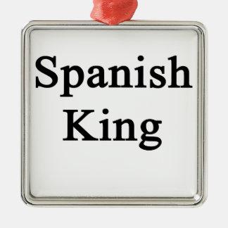 Rey español adorno navideño cuadrado de metal