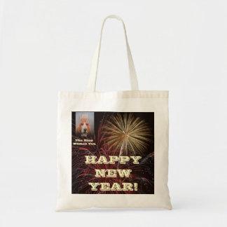 Rey Feliz Año Nuevo de Basset Hound del bolso Bolsa Tela Barata