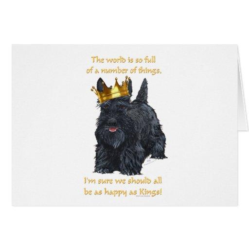 Rey feliz de Terrier del escocés Tarjeta De Felicitación