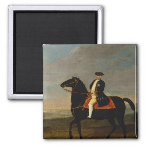 Rey Frederick Guillermo I a caballo Imán Cuadrado