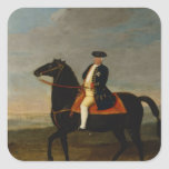 Rey Frederick Guillermo I a caballo Pegatina Cuadrada