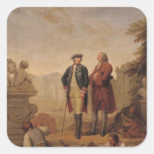 Rey Frederick II de Prusia Pegatina Cuadradas Personalizadas