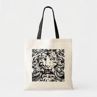 rey fresco del vintage del diseño del tigre de la  bolsas lienzo