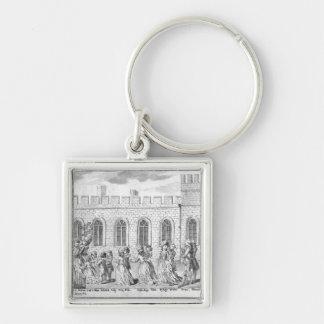 Rey George III y reina Charlotte Llavero Cuadrado Plateado