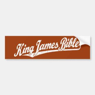 Rey James Bible Script Logo en el blanco apenado Etiqueta De Parachoque