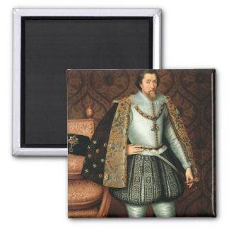 Rey James I de Inglaterra (1566-1625) (aceite en l Imán Cuadrado