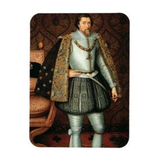 Rey James I de Inglaterra (1566-1625) (aceite en l Iman Rectangular