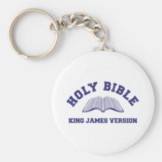 Rey James Version de la Sagrada Biblia en el azul  Llavero Personalizado