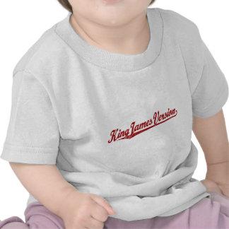 Rey James Version Script Logo en el rojo apenado Camiseta