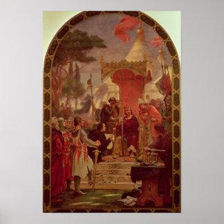 Rey Juan Granting la Carta Magna en 1215, 1900 Póster