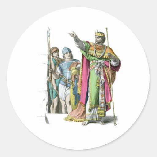 Rey judío antiguo pegatina redonda
