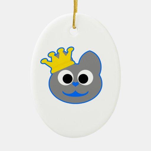 Rey Kat Blue - gris Adorno Ovalado De Cerámica