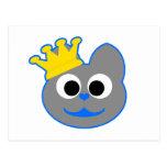Rey Kat Blue - gris Tarjetas Postales
