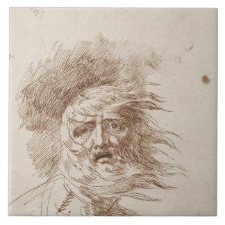 Rey Lear en la tormenta (tinta de la pluma y del b Azulejo Cuadrado Grande