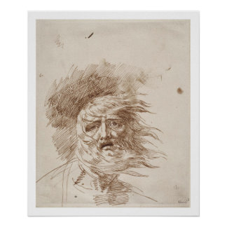 Rey Lear en la tormenta tinta de la pluma y del b Poster