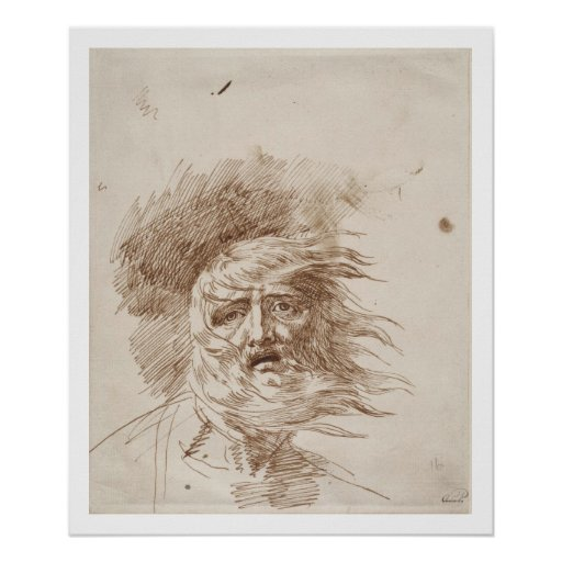 Rey Lear en la tormenta (tinta de la pluma y del b Poster