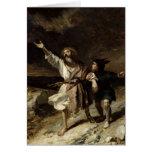 Rey Lear y el tonto en la tormenta Tarjeta De Felicitación