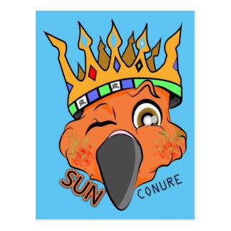 Rey lindo Sun Conure Parrot Wink Postal