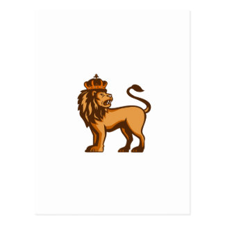 Rey Lion Crown Looking Side retro Postales