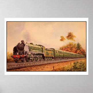 Rey locomotor Arturo del vintage de la acuarela Poster