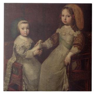 Rey Louis XIV (1638-1715) como niño con Philipp Azulejo Cuadrado Grande