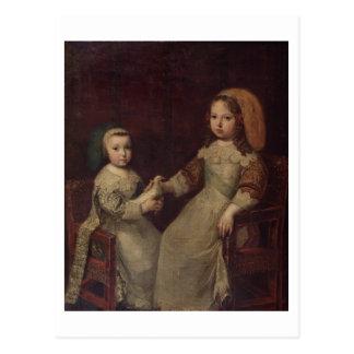 Rey Louis XIV 1638-1715 como niño con Philipp Tarjetas Postales